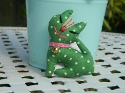 Vintage Mini Cat Pin Brooch - Green with White Polka Dots