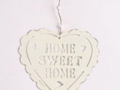 Shabby Chic Ivory Home Sweet Home Hanging Heart Decoration