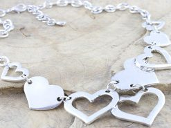 Silver Tone Coloured Multiple Heart Metal Necklace Rhodium Plated