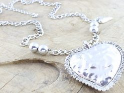 Silver Tone Coloured Long Metal Heart Necklace Rhodium Plated
