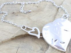 Silver Tone Coloured Metal Heart Necklace With Stamped Heart Design Rhodium Plated