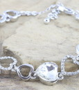 Silver Tone Coloured Heart Shaped CZ Tennis Bracelet Rhodium Plated