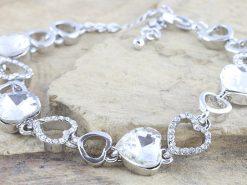 Silver Tone Coloured Heart Shaped CZ Tennis Bracelet Rhodium Plated
