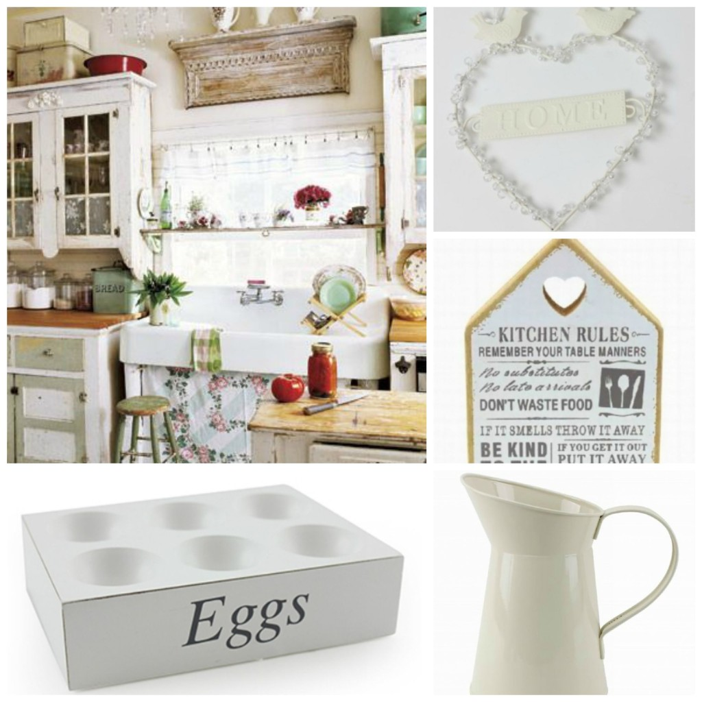 Shabby chic kitchen accessories in a country cottage for Case shabby chic country