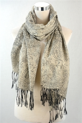 Paisley print sheen scarf – cream