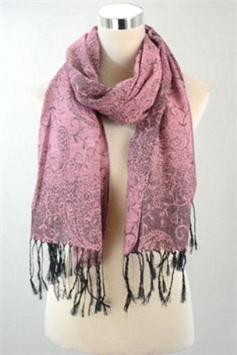 Paisley print sheen scarf – pink